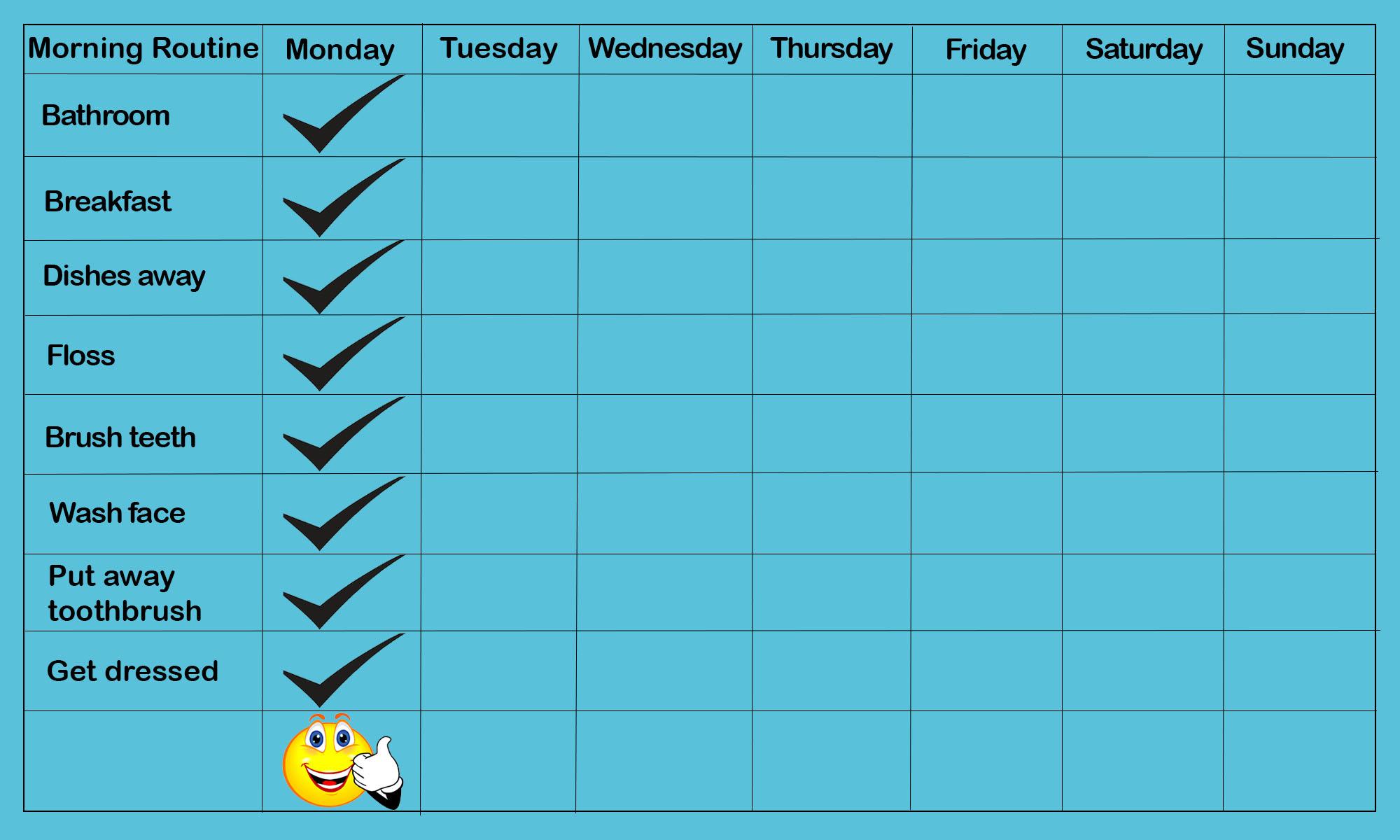 Good behaviour chart template