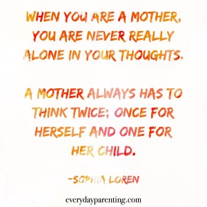 A mother always has to think twice once for herself and one for her child